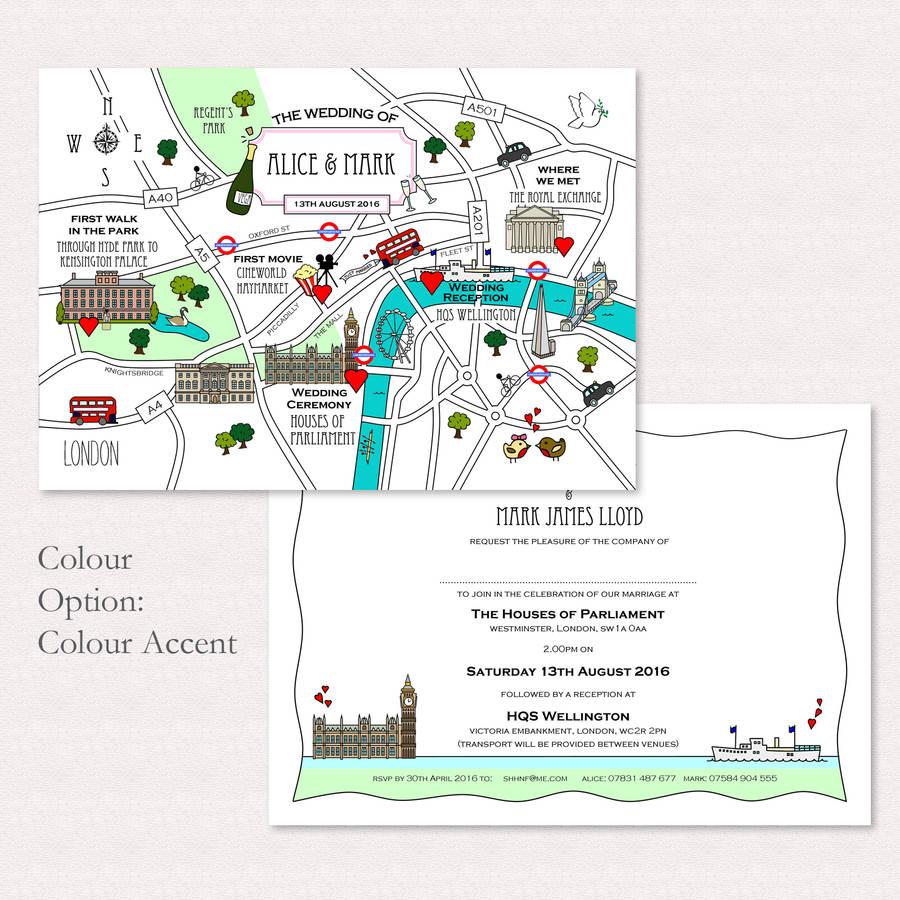 Térkép Ötletes esküvői meghívó