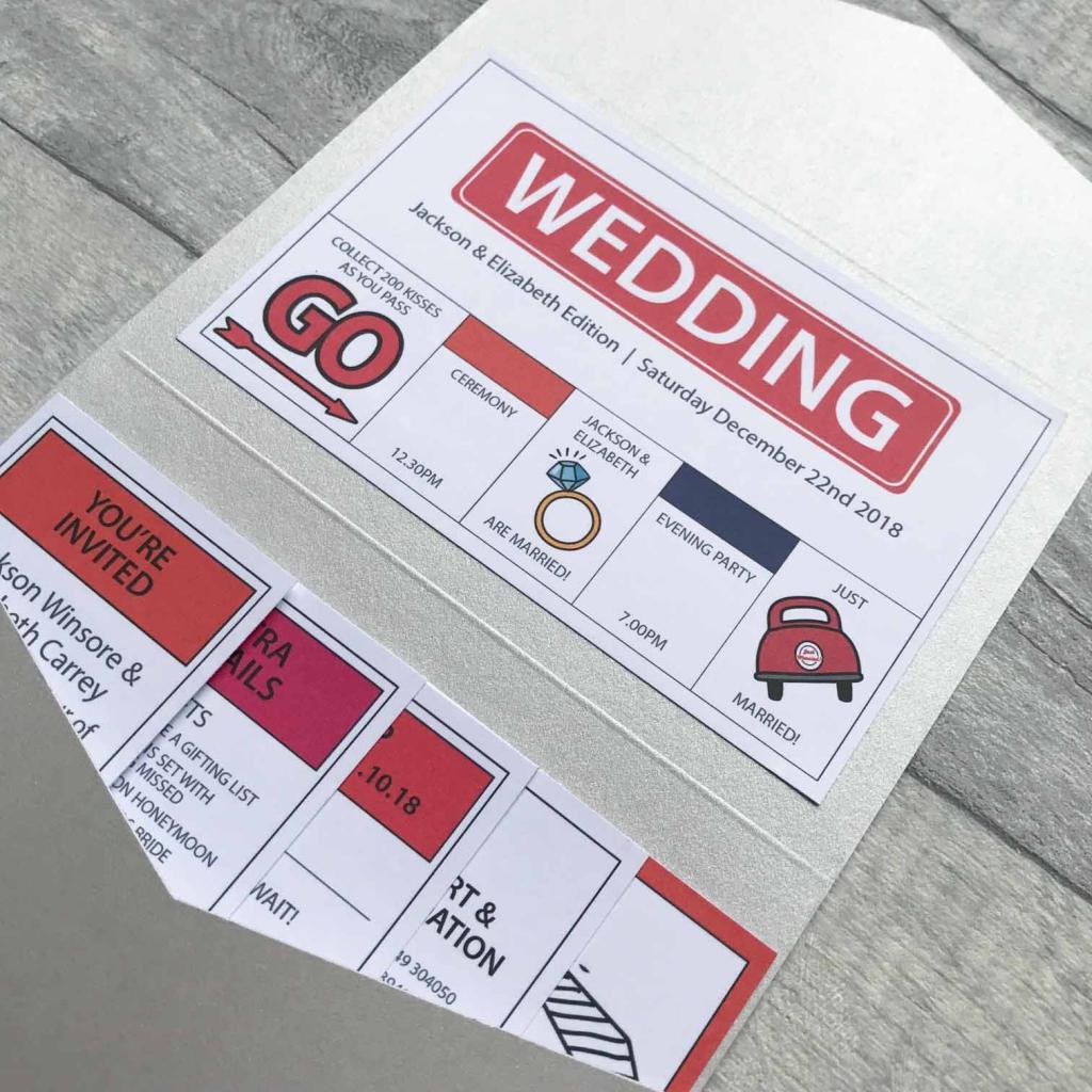 Társasjáték ötletes esküvői meghívó
