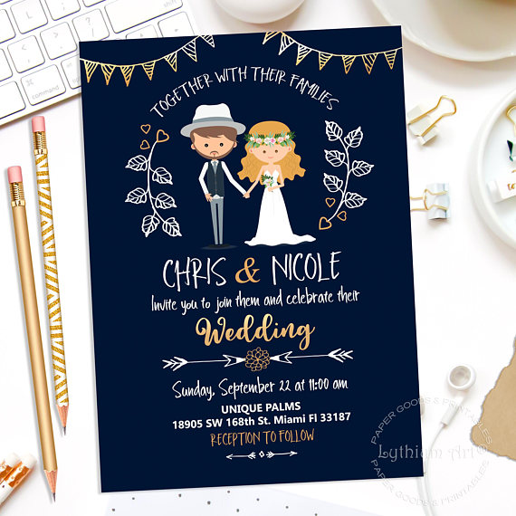 Karikatúra Ötletes esküvői meghívó