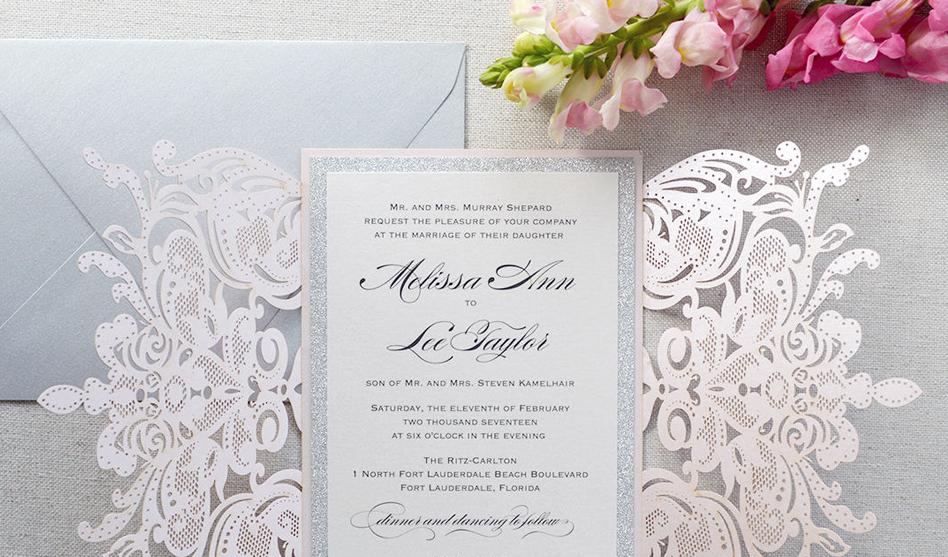 0b3ec3f41e Csipkés esküvői meghívó | Pink & White