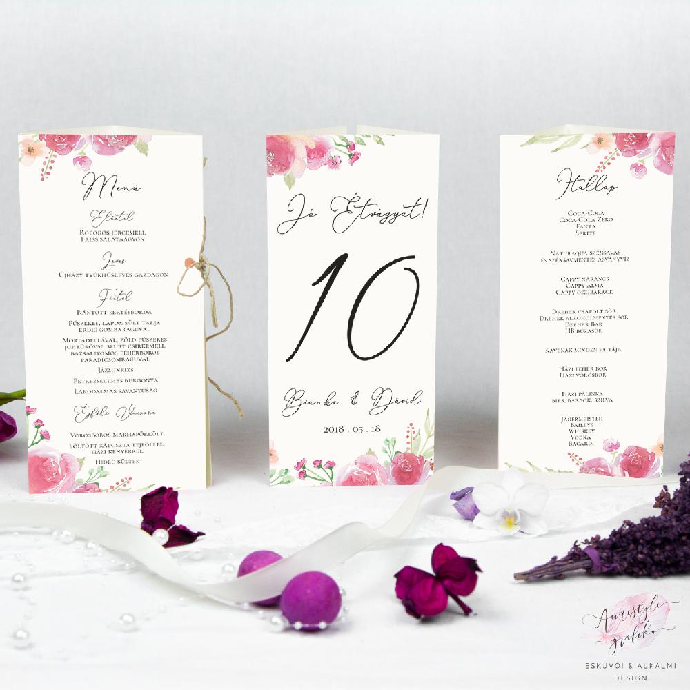 Háromszög esküvői menükártya